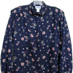 Pendleton Sz 8 Navy Floral Mock Collar Shirt